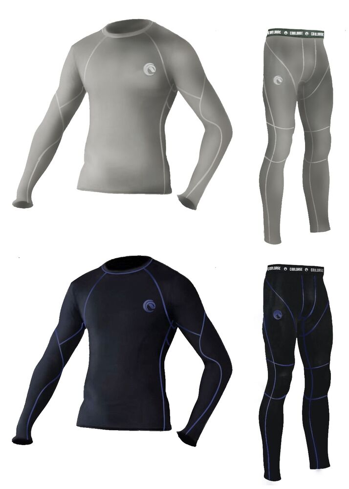 Mens Cold Gear Compression Baselayer Thermal Skin Top Long