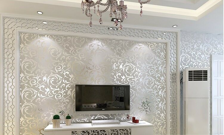 SILVER WALL PAPER WALLPAPER ROLL DAMASK VICTORIAN EMBOSSED ...