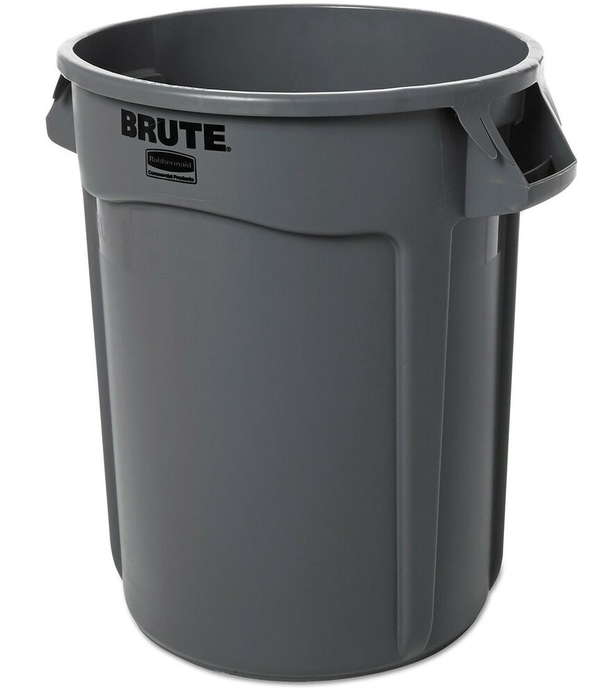 Commercial Trash Bin Sizes : Gray rubbermaid industrial commercial brute trash can