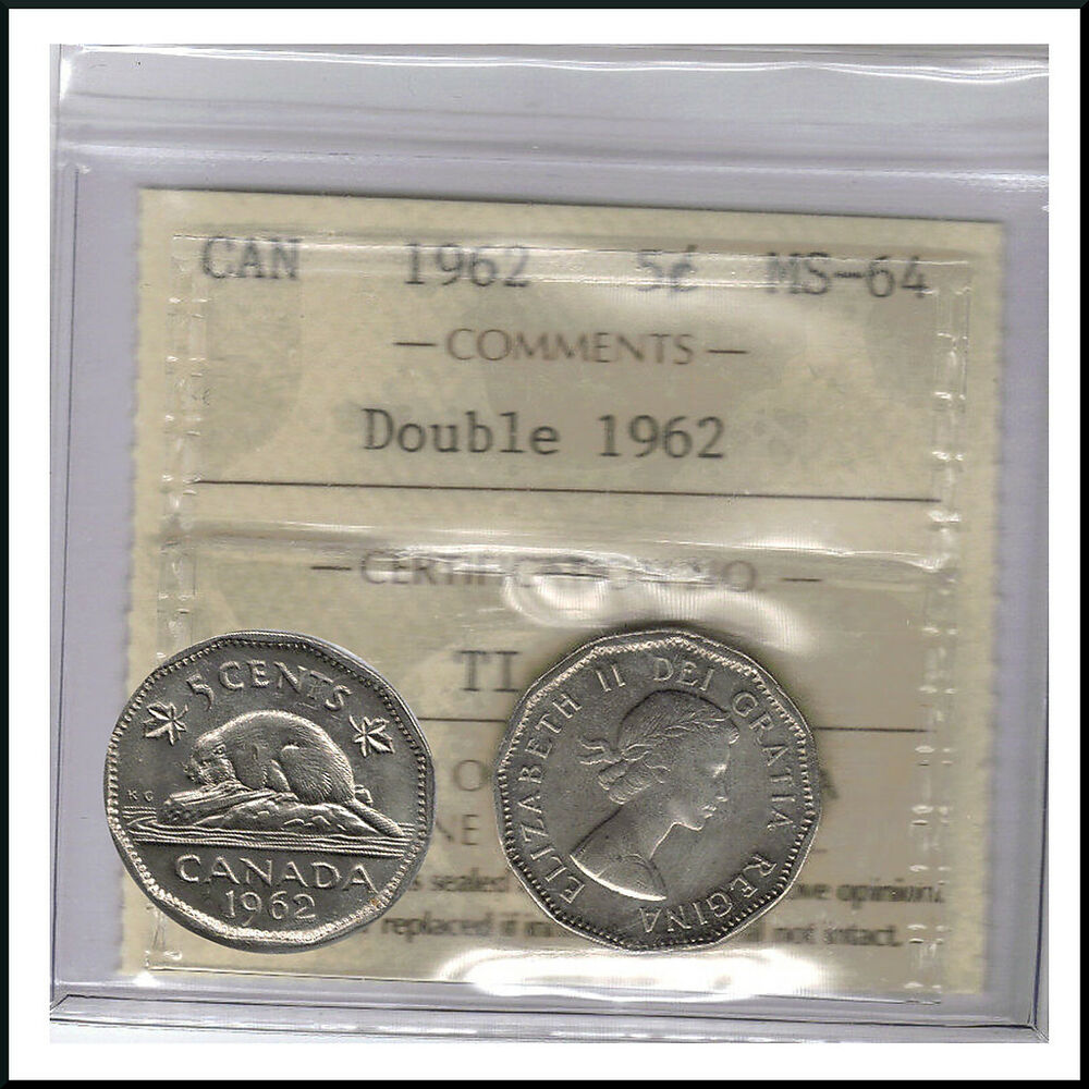Canada 1962 Double Date 1962 5 Cent Nickel Coin Iccs Ms 64