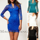 Women Sexy V Neck Floral Lace 3/4Sleeve Slim Mini Prom Cocktail Party Club Dress