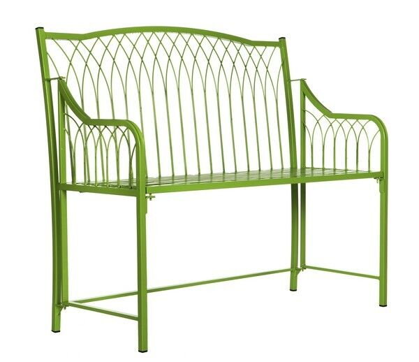 Wilton Folding Metal Wrought Iron Bench Green Garden Furniture Seating Ch