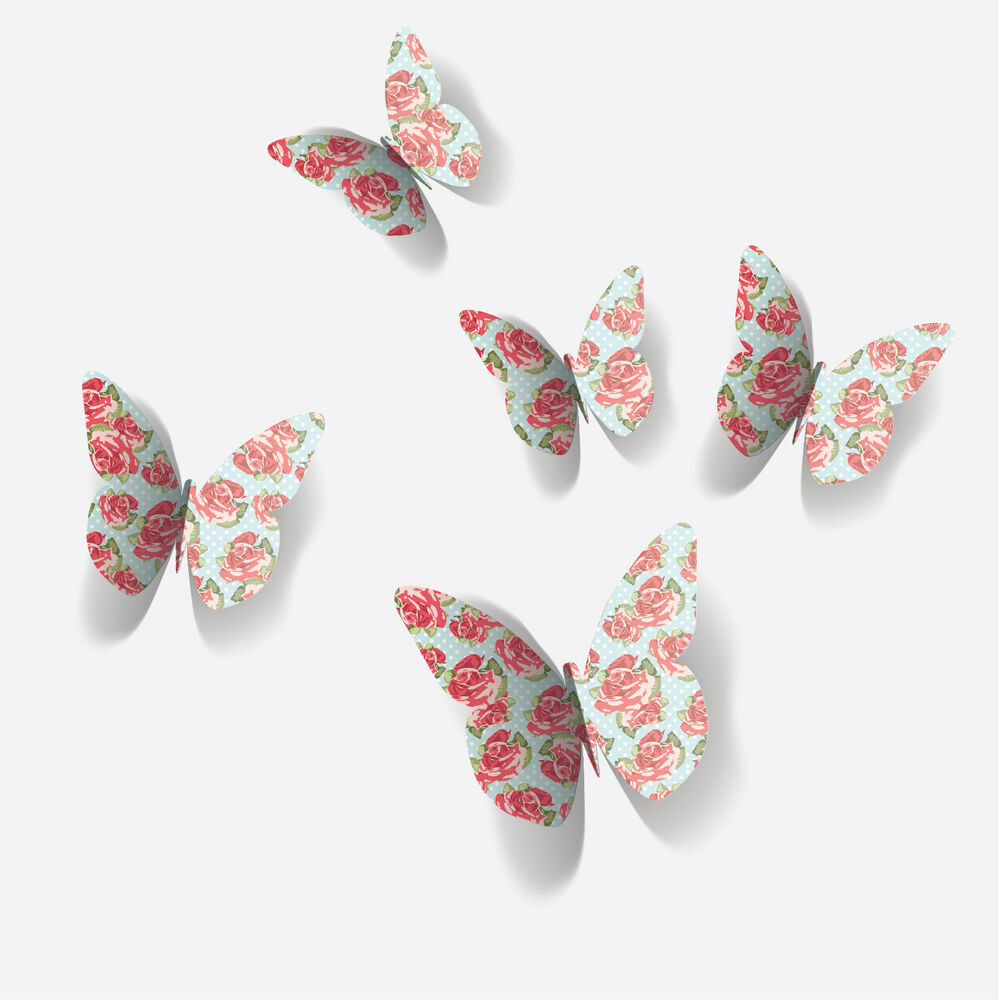 3D Vintage Flower Butterfly Wall Stickers / Wall Decors