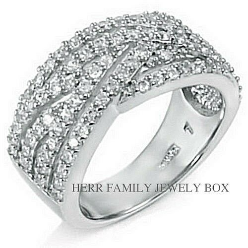 Sterling Silver Simulated Diamond Wide Anniversary Band
