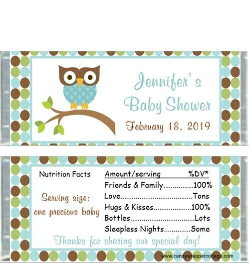 Baby Shower Favors Candy Bar Wrappers ~ Mod owl blue or pink personalized baby shower candy bar