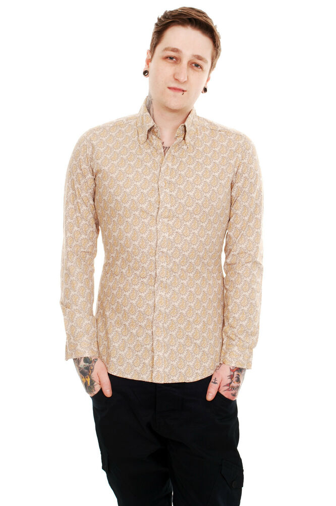 mens indie retro mod vintage new 60s button down stone