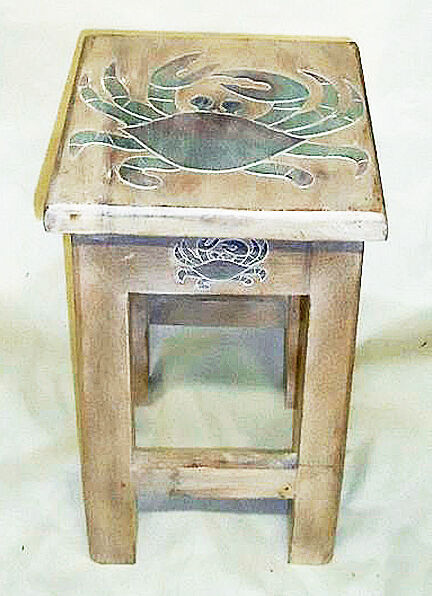 Tables Blue Crab Wooden Side Table Nautical Decor Coastal Decor Ebay