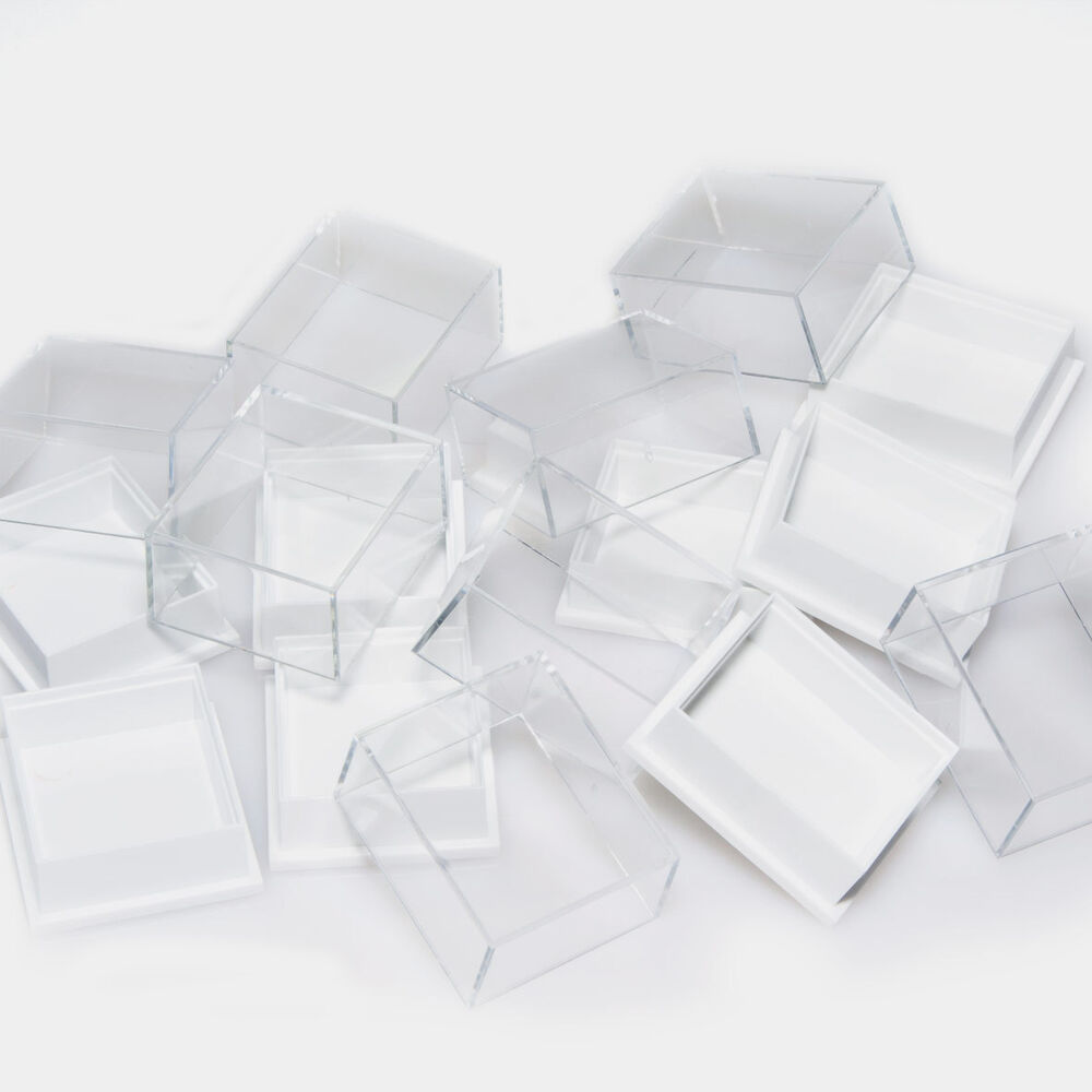 clear plastic boxes clear top plastic perspex low dome earring 11038