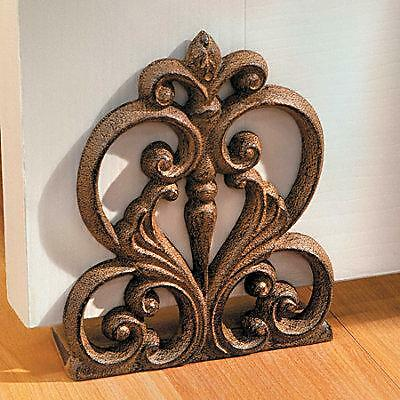 scroll medallion cast iron decorative door stop home decor