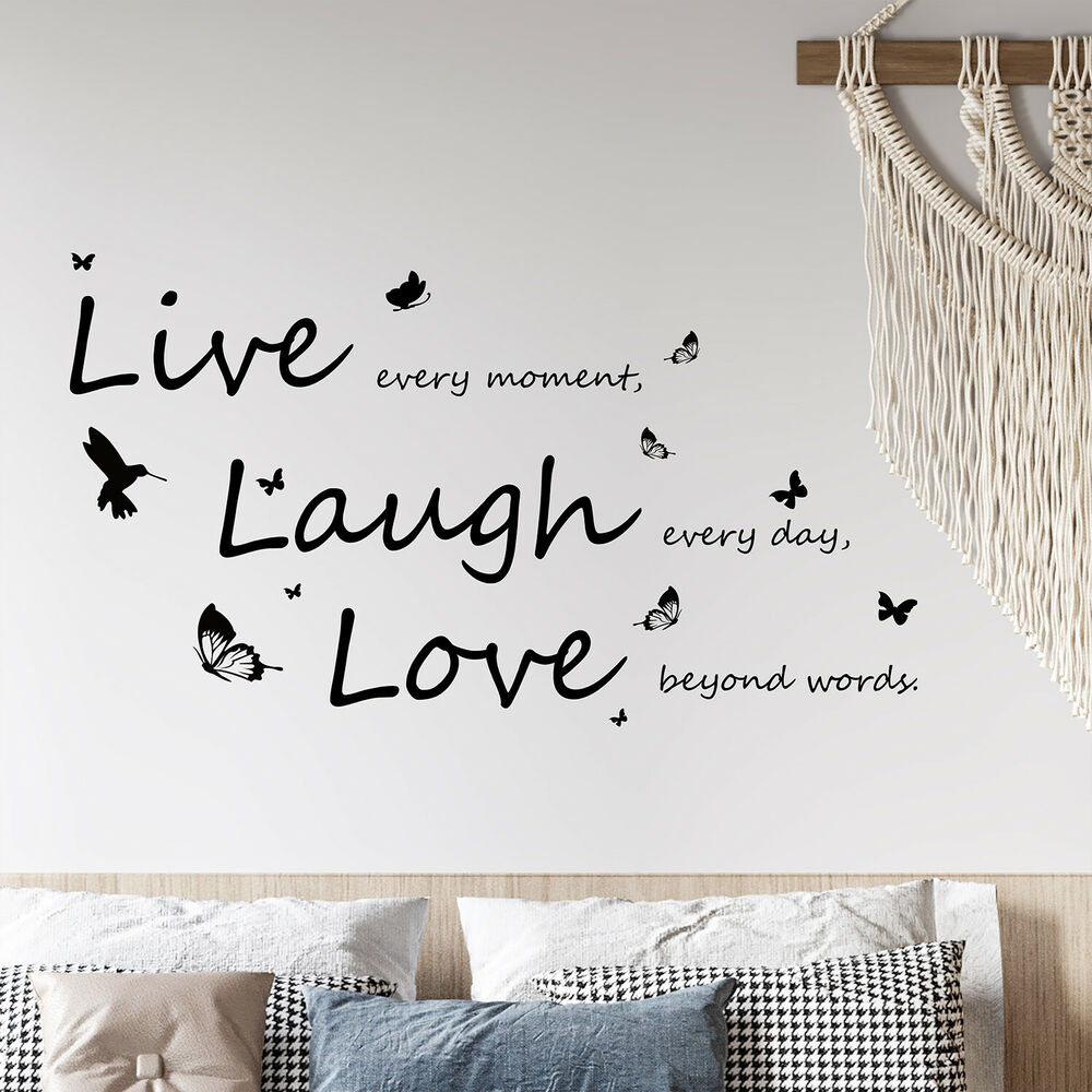 Vivid Live Laugh Love Wall Stickers Art Mural Quote Wallpaper Living Room Decals Ebay
