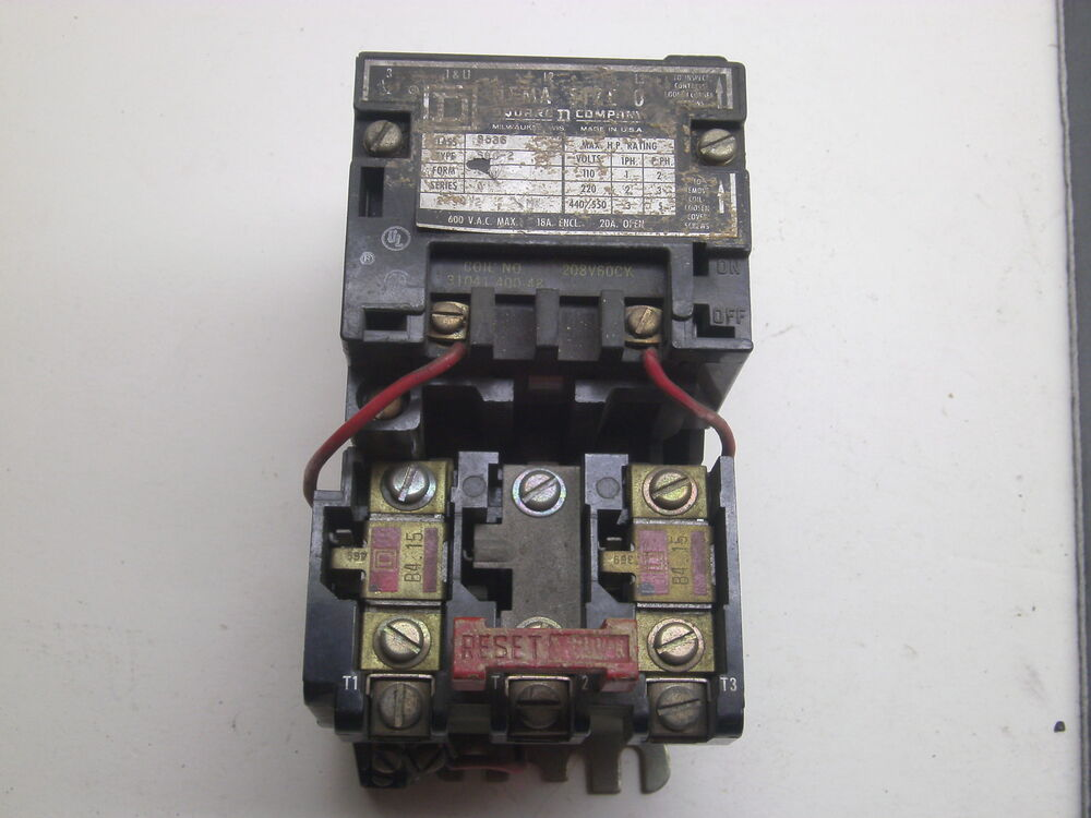 Square d motor starter 8536sb0 2 600vac max 20a amp used for Square d motor starter