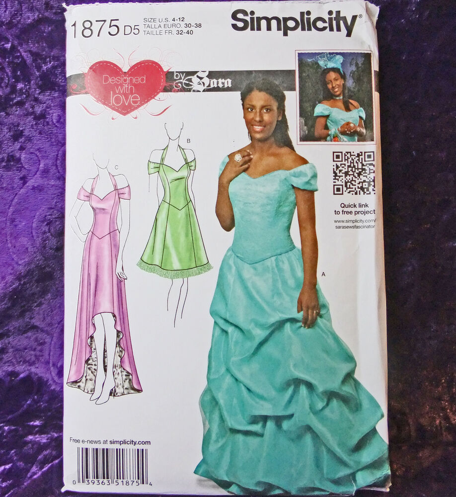 Simplicity 1875 Off Shoulder Formal Designed by Sara Evening Gown ...