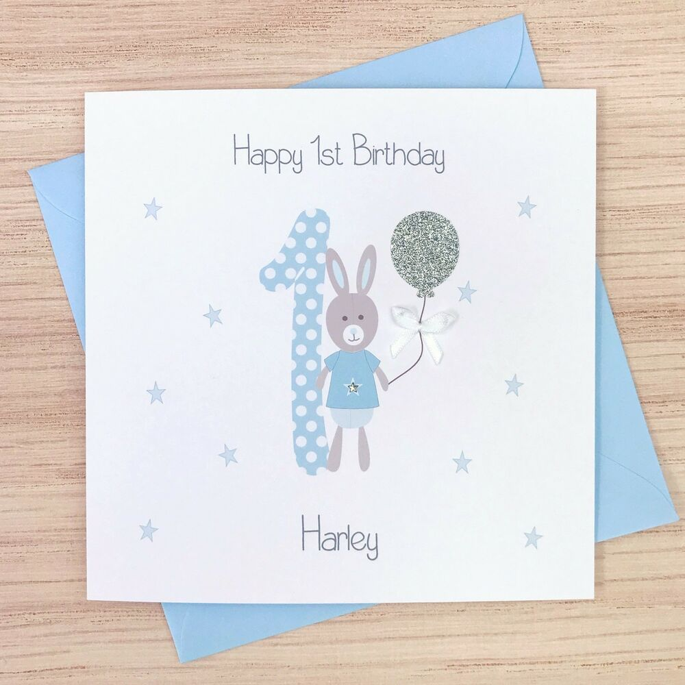 Personalised Boys First Birthday Card Bubbles By August: Handmade Personalised 1st Birthday Card Boys First