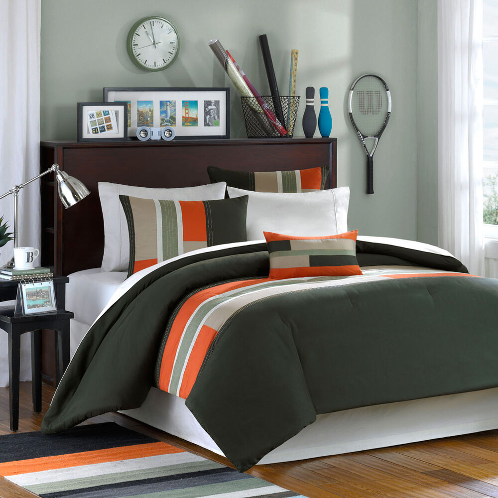 orange sporty grey tan khaki green boys stripe comforter set full queen twin xl ebay. Black Bedroom Furniture Sets. Home Design Ideas