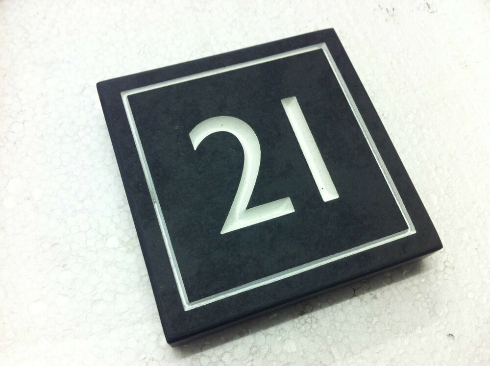 "Slate House Number 21 Engraved On Any Stone 4""/4"""
