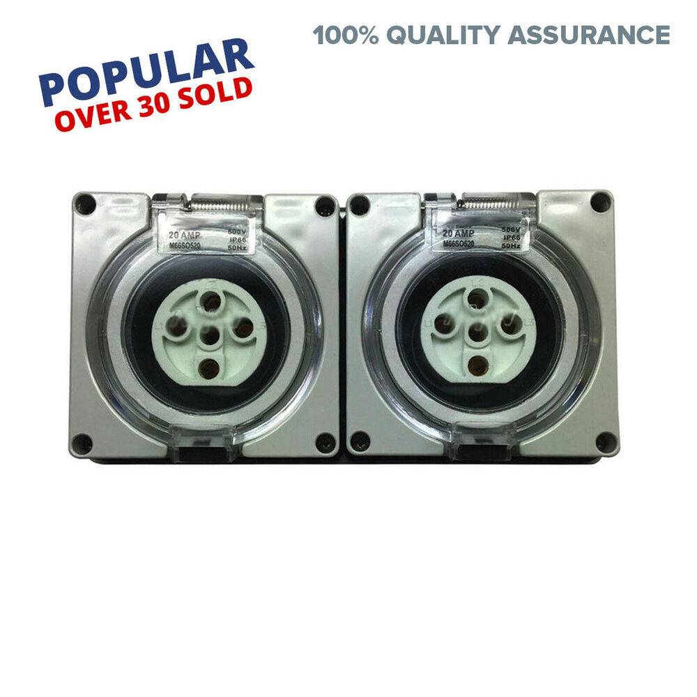 2 X 5 Pin 20 Amp 3 Pole Phase Socket Outlet Ip66