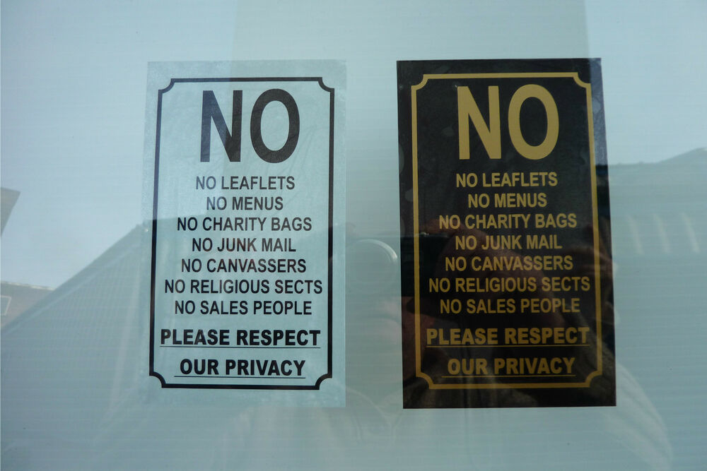 No leaflets menus charity bags junk mail canvassers sales for Door 2 door leaflets