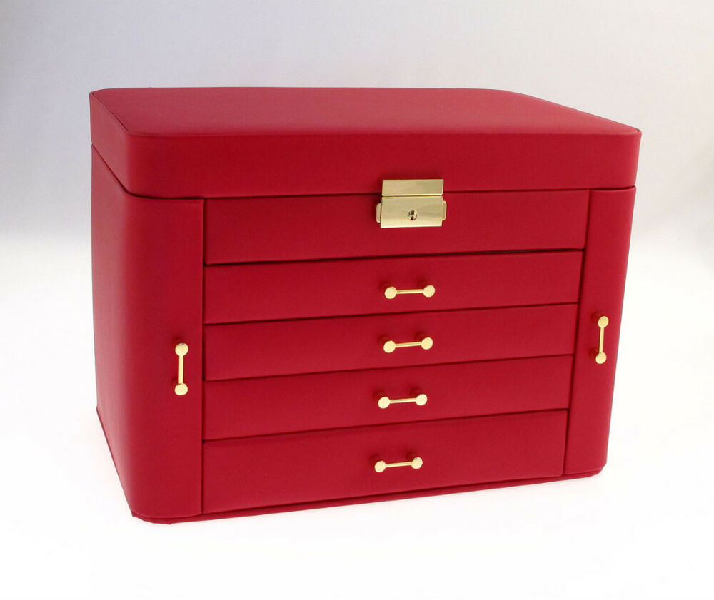 large red leather jewellery storage armoire box case jewelry chest of drawers ebay. Black Bedroom Furniture Sets. Home Design Ideas