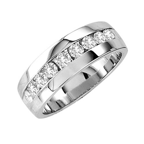 1 2 CT BRAND NEW MENS COMFORT FIT DIAMOND WEDDING BAND ROUND CHANNEL RING
