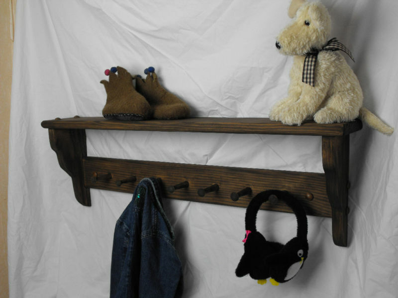 Wooden Coat Peg Rack Shaker Style With Shelf Pine 7 Pegs