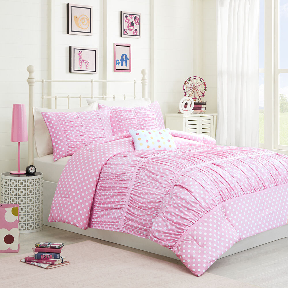 Beautiful Soft Pink Ruffled Polka Dot Girls Comforter Set