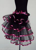 Burlesque Tutu Skirt Bustle Black Pink Belt size 6 8 10 12 Fancy Dress Halloween
