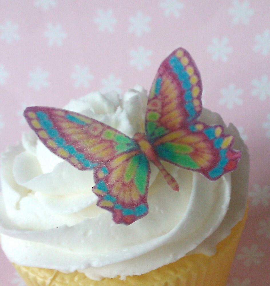 36x edible rainbow wafer butterfly cupcake cake toppers ...