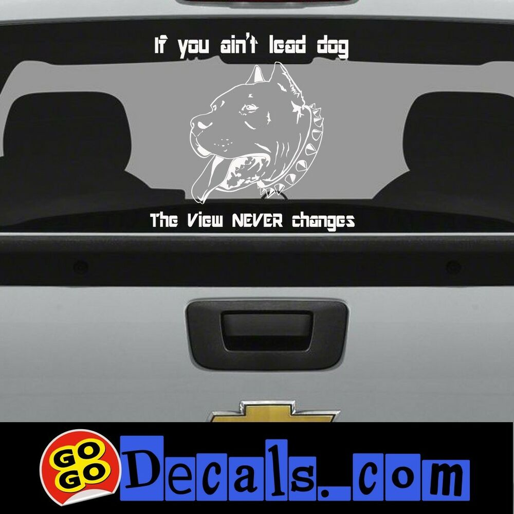 Pitbull Lead Dog Sticker With Text Garage Truck Toolbox