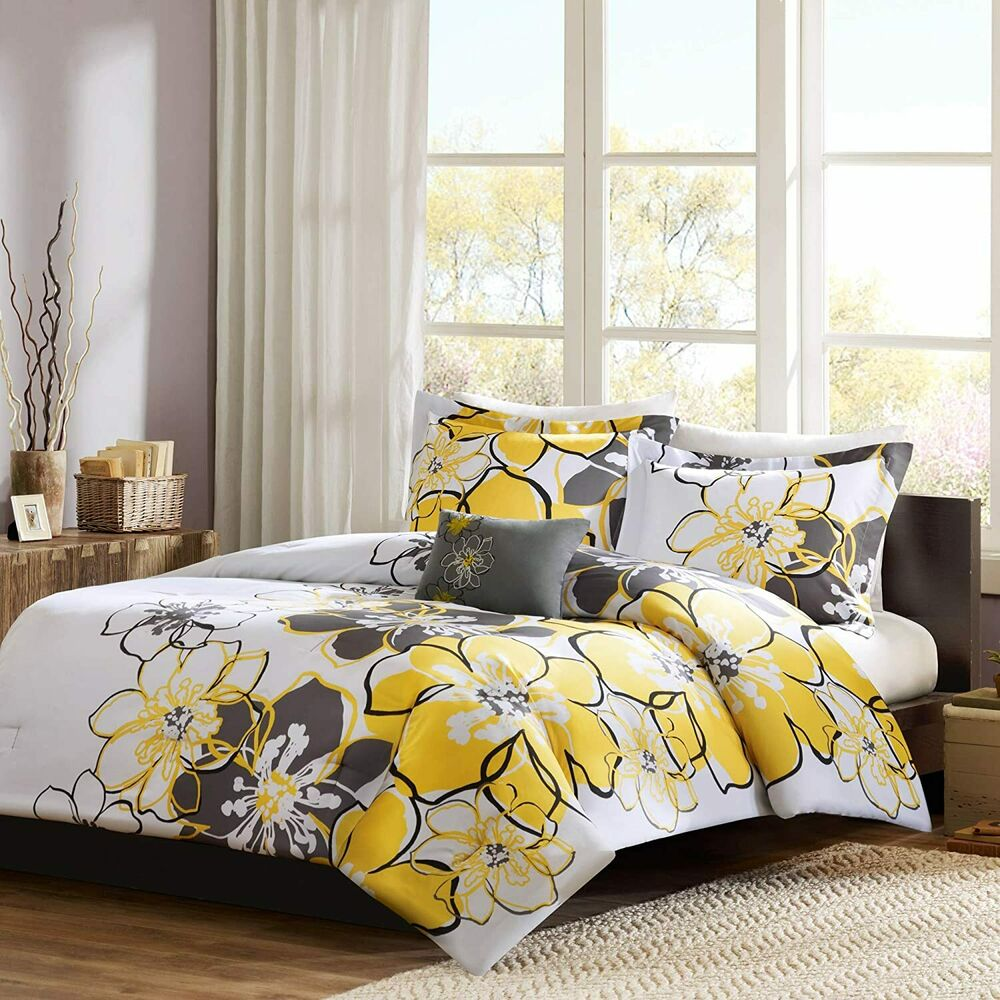 beautiful girls yellow gray floral soft 3 pc comforter set w pillow full twin ebay. Black Bedroom Furniture Sets. Home Design Ideas