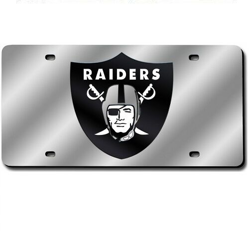 Oakland Raiders Mirrored Laser Cut License Plate Laser Tag