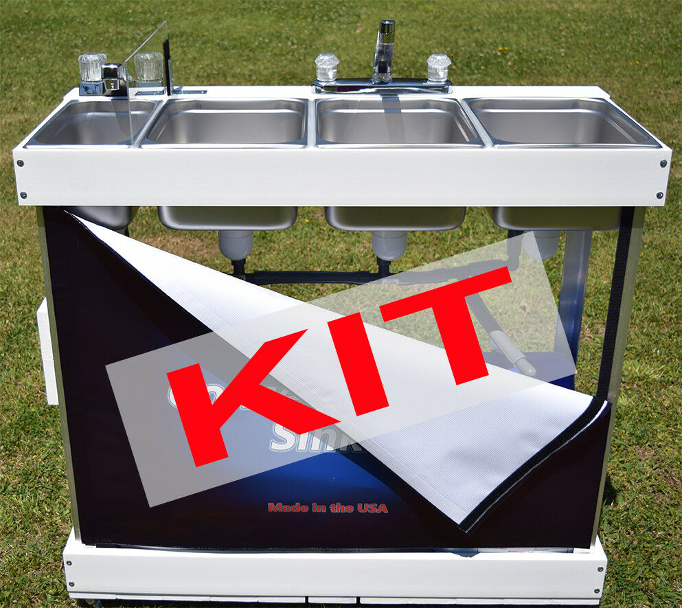 Concession Sink Kit With Parts 3 Large Bin Electric Hot