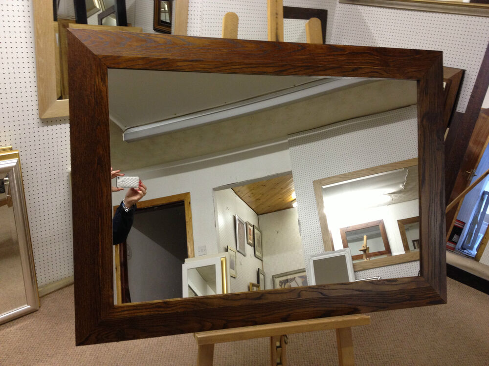 New large 4 shaped walnut stained solid oak framed for Large framed mirrors for walls