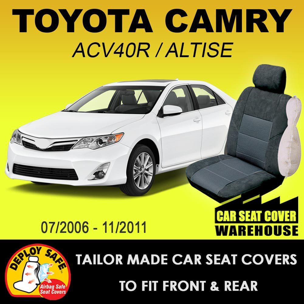 car seat covers to fit toyota camry sedan altise 2006 11 2011 airbag safe ebay. Black Bedroom Furniture Sets. Home Design Ideas