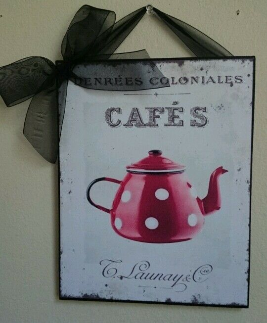 Red Country Wall Decor : Red poka dot coffee kitchen french shabby country chic