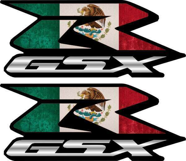 2 Mexican Flag GSXR Decals Stickers 600 750 1000 hayabusa