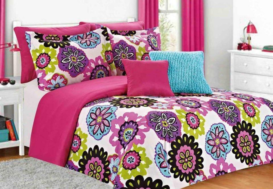 TWIN Girls Teen Pink Blue Lime White FUNKY FLORAL 5pc