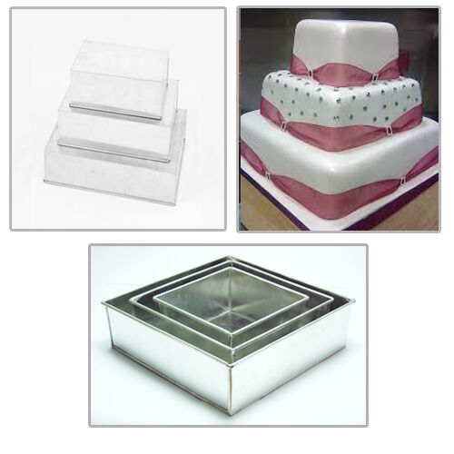 rectangle wedding cake pans 3 tier square multilayer wedding cake tins ebay 19058