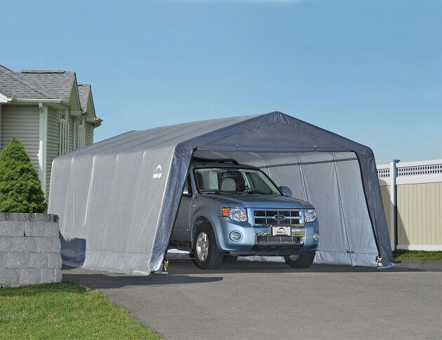 ShelterLogic 12x20x8 Peak Gray Auto Shelter Portable