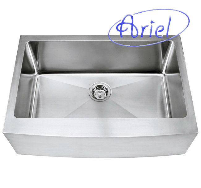 30 Inch Apron Front Sink : 30 inch Stainless Steel Curved Front Farm Apron Kitchen Sink 15mm ...