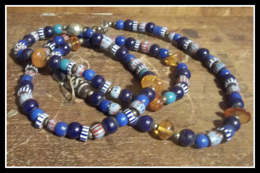 Gorgeous OLD Indian Trade Bead Necklace ALASKA