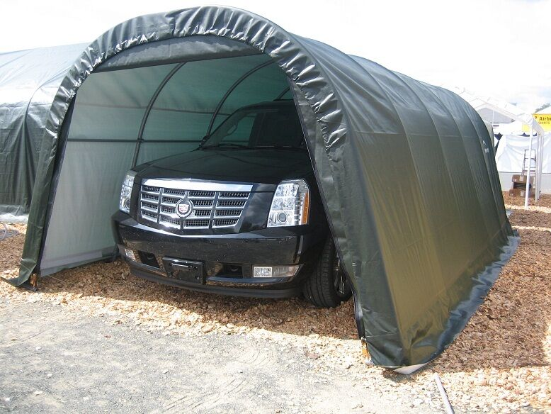 Temporary Garage 12x24 : Round shelterlogic shelter portable garage carport