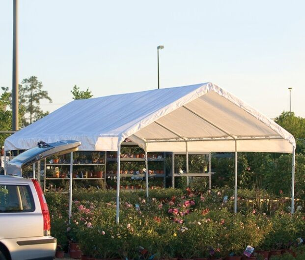 Portable Carports 10 20 : Shelterlogic leg canopy carport portable garage