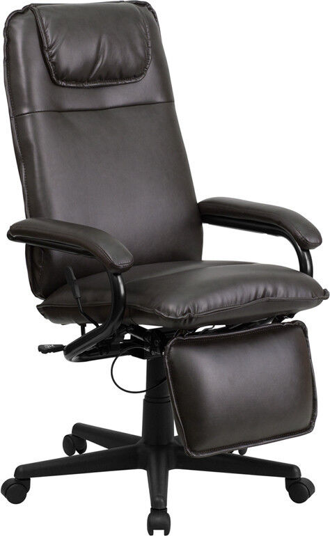 best executive high back reclining recliner brown leather office desk chair new ebay. Black Bedroom Furniture Sets. Home Design Ideas