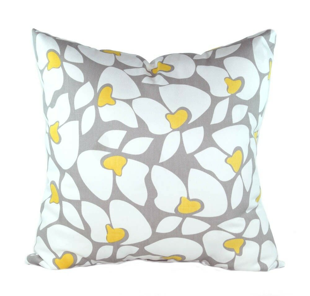 Floral Pillow, Helen Storm Gray and Corn Yellow Floral Decorative Throw Pillow eBay