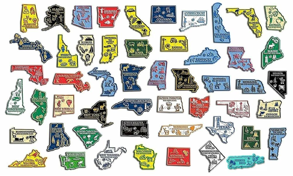 All State Map Outline Magnets Plus Washington DC And Puerto - Us state map with dc