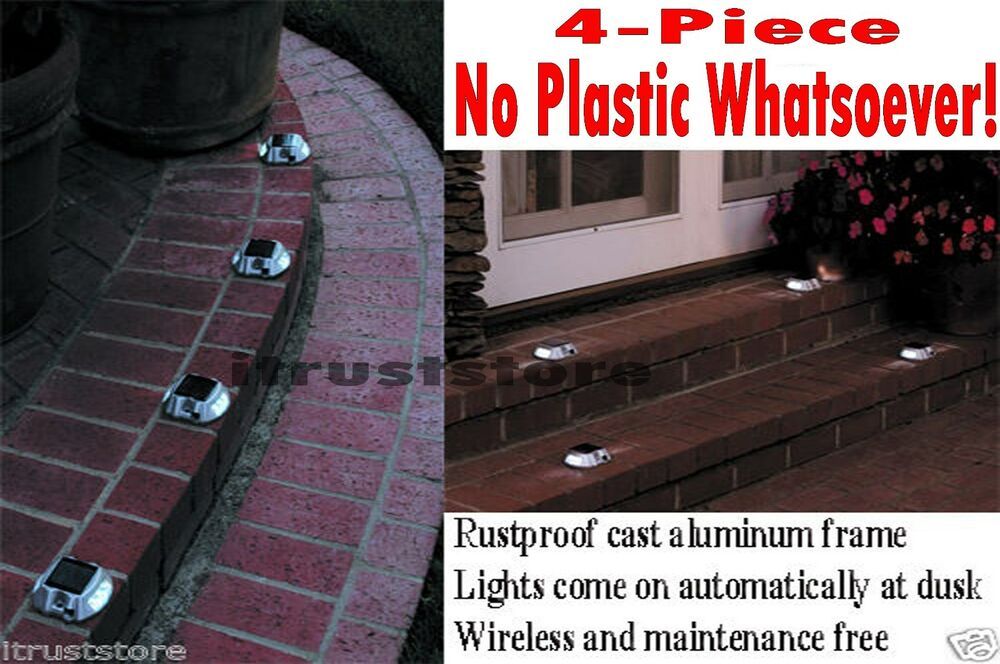 Solar Powered Pathway Markers Light Led 4 Pc Patio Garden