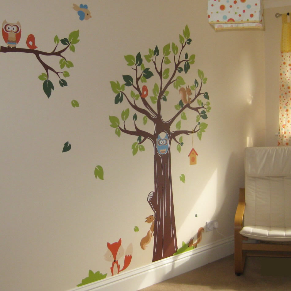 Animal And Tree Monkey Elephant Lion Owl Fox Nursery Wall