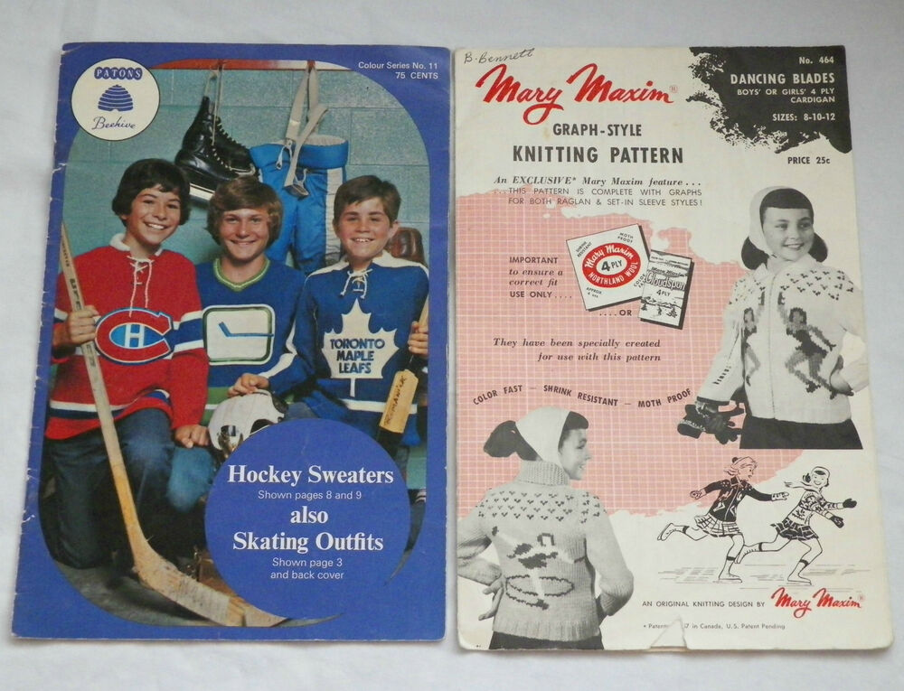 Hockey Sweaters NHL Teams Knitting Pattern Skating Outfit VTG Patons ...