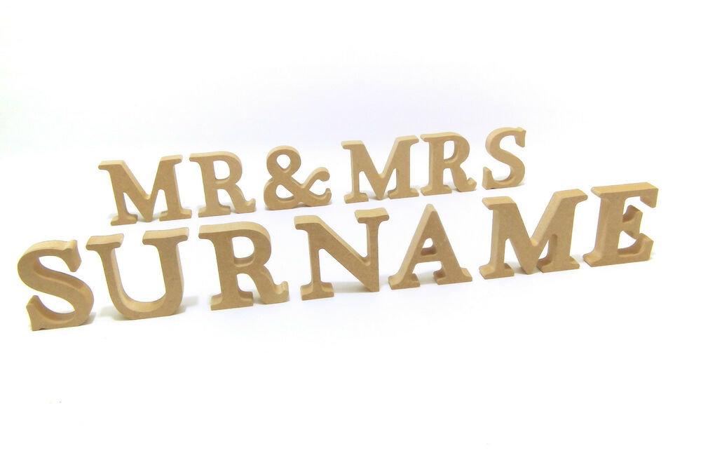 Wedding mr mrs with personalised surname wooden for Personalised mr and mrs letters