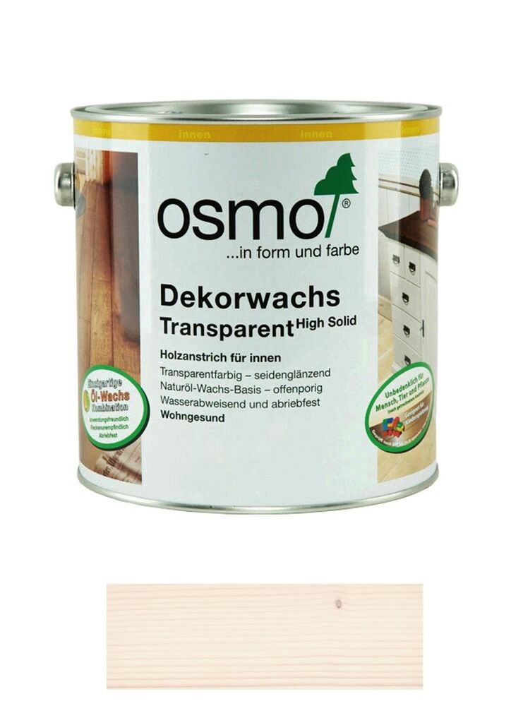 osmo dekorwachs transparent high solid 3111 weiss 2 5 liter gebinde ebay. Black Bedroom Furniture Sets. Home Design Ideas